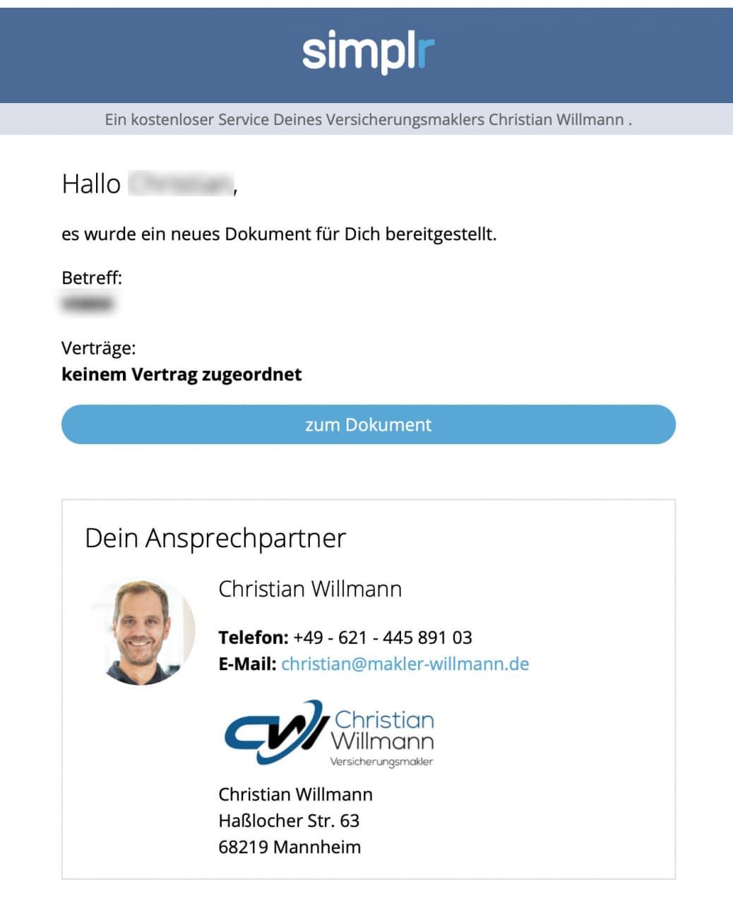 Simplr Beispiel Email Benachrichtigung Kunde Versicherungsmakler Christian Willmann Mannheim